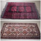 2 Turkmen Afghan rugs. c.20th century.