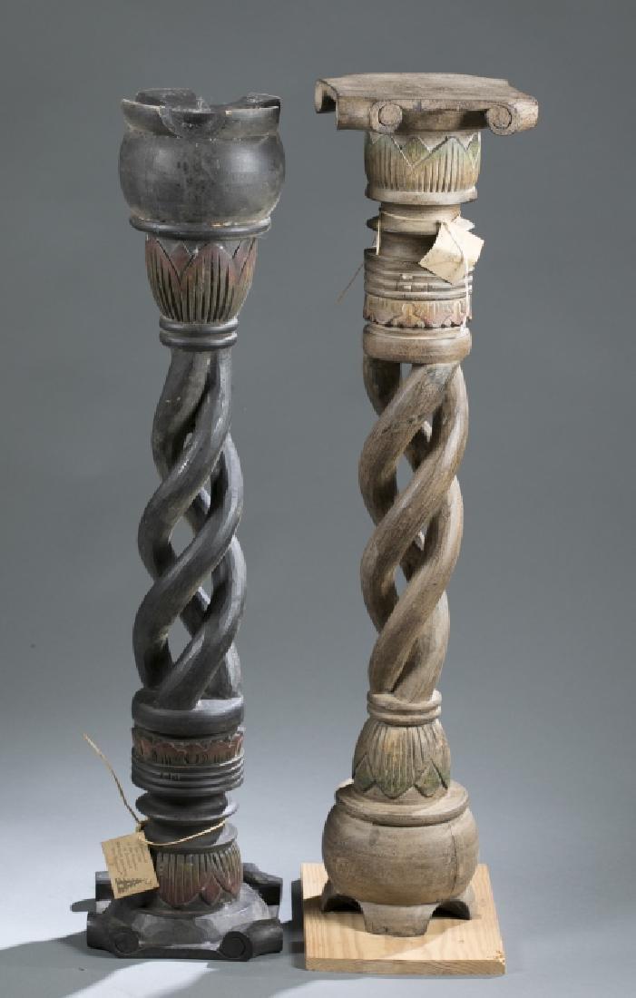 2 African style wooden pedestals.  c.20th century.