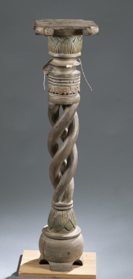 2 African style wooden pedestals.  c.20th century. - 3