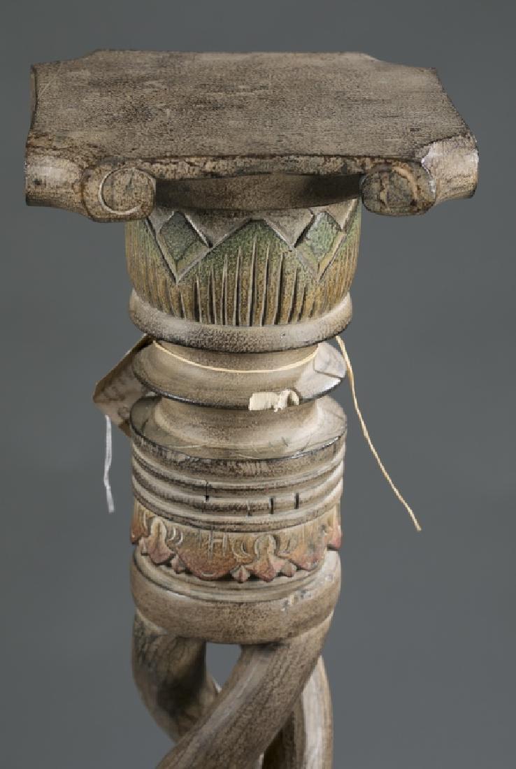 2 African style wooden pedestals.  c.20th century. - 4