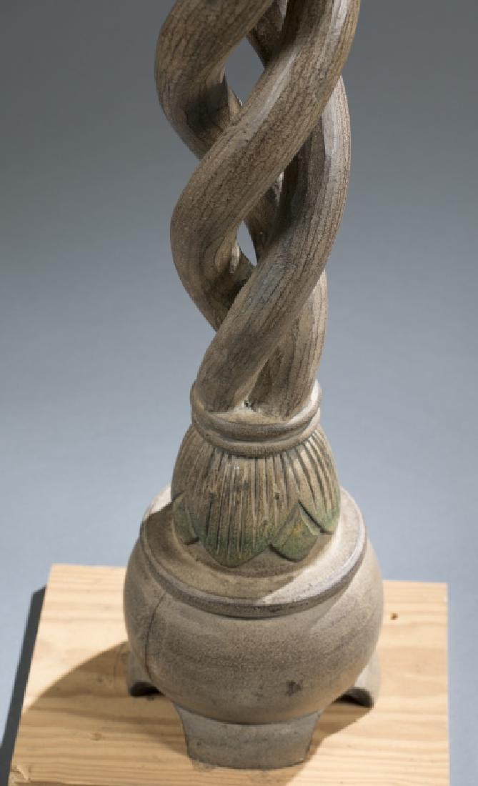 2 African style wooden pedestals.  c.20th century. - 5