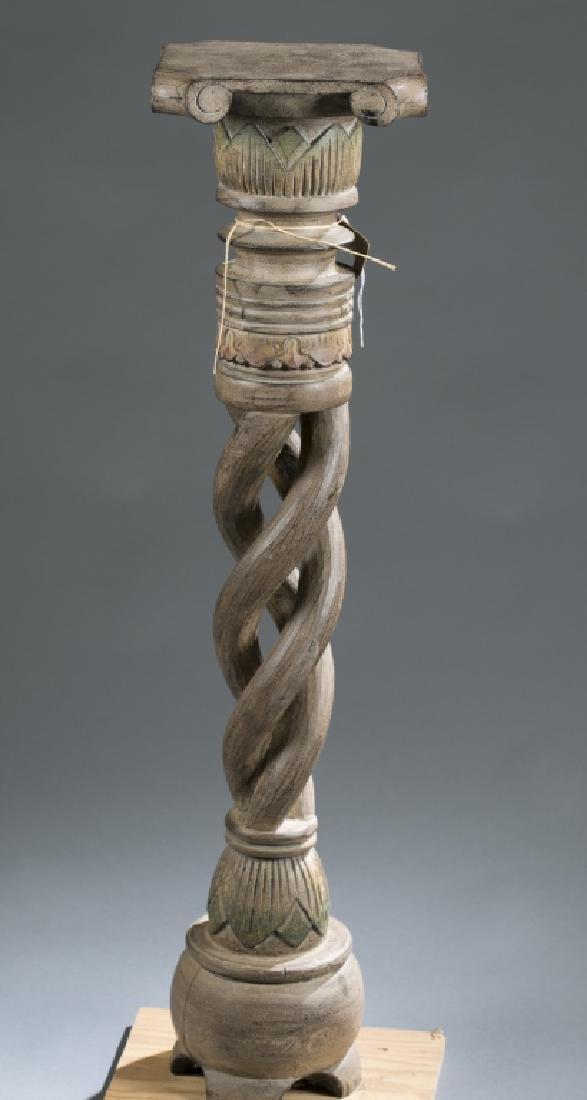 2 African style wooden pedestals.  c.20th century. - 6