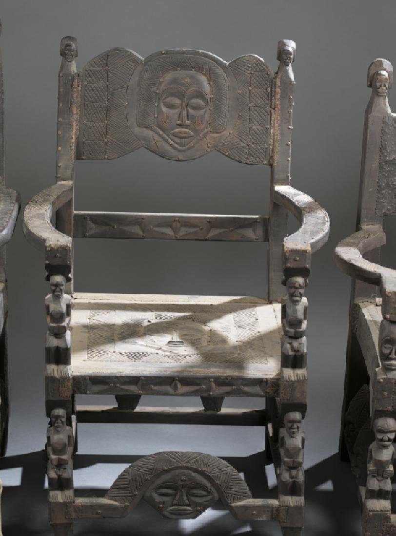 4 African style chairs. c.20th century. - 3