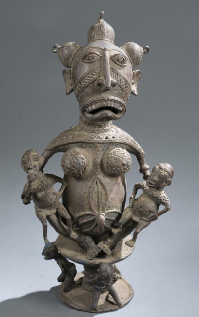 Cameroon style brass seated figure