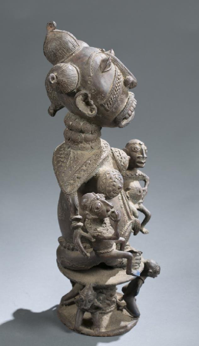 Cameroon style brass seated figure - 2