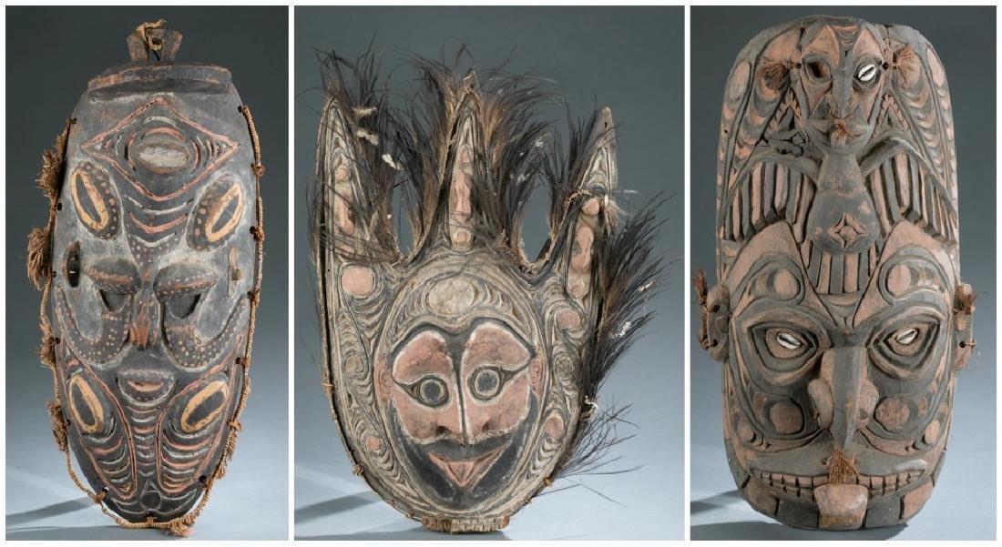 3 Sepik River style masks. c.20th century.