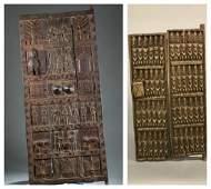 2 African style doors. c.20th century.