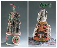 2 Yoruba style beaded objects. c.20th century.
