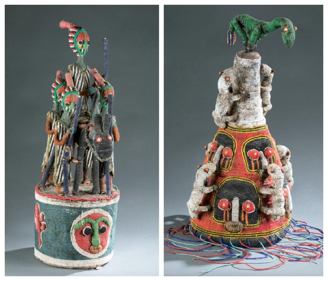 2 Yoruba style beaded objects. c.20th century.