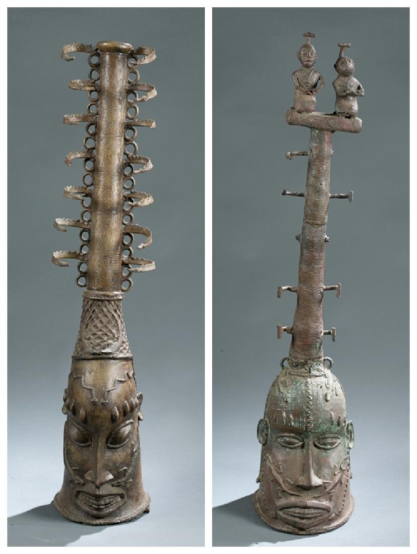 2 Nigerian Brass heads. c.20th century.