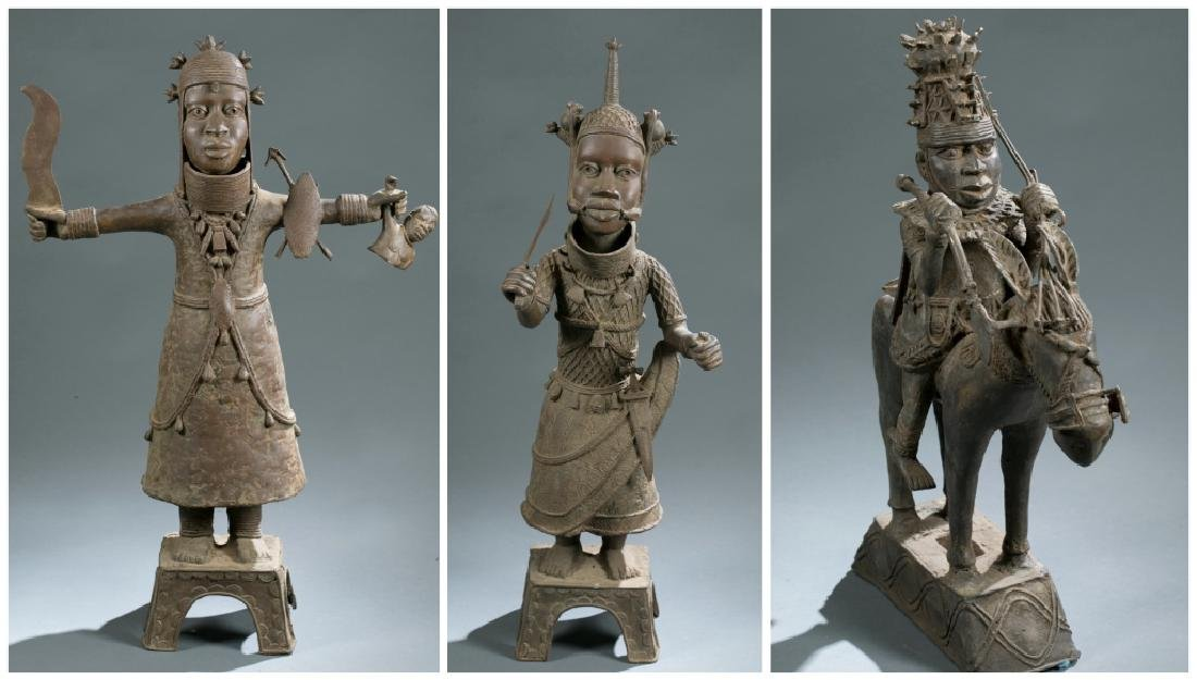 3 Nigerian Benin figures. c.20th century.