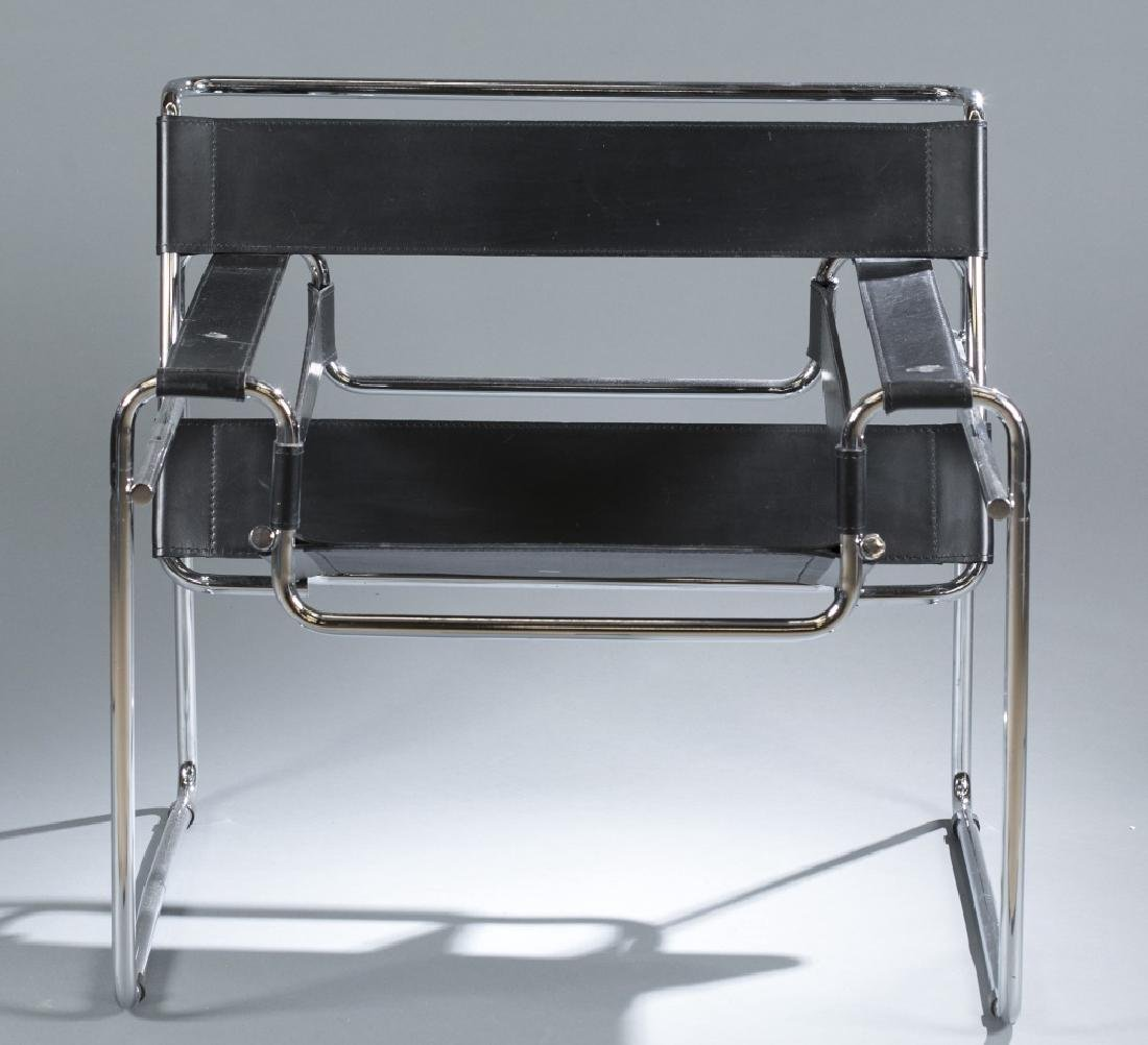 "Marcel Breuer ""Wassily"" chair in chrome & black."
