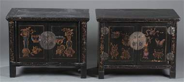Pair Chinese black lacquer cabinets