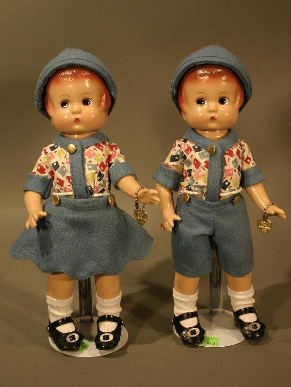 "602: Effanbee Twins, hard plastic doll 10.5"""