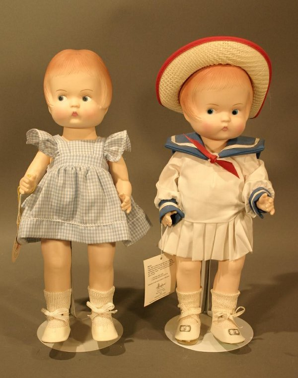 """604: Two Effanbee 1987 Plastic Dolls, 15"""" tall."""