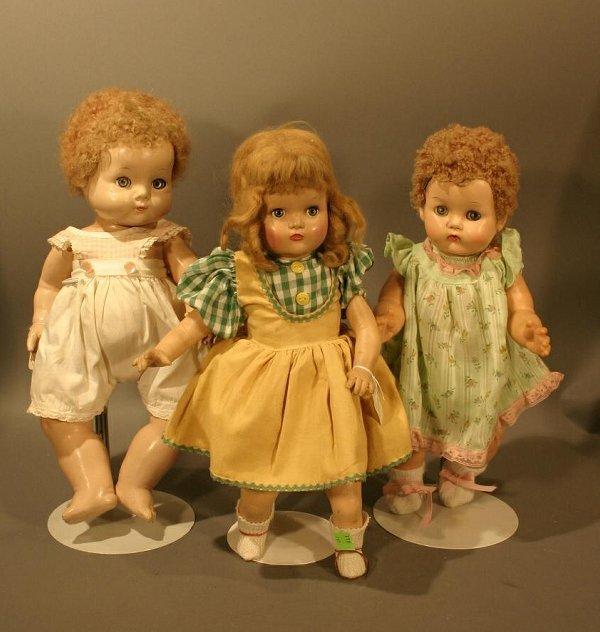 606: Lot of 3 Vintage Dolls:  1930's Effanbee Sweetie p