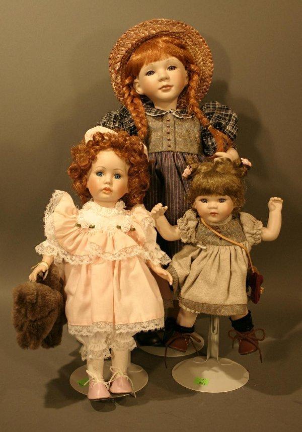 """609: Lot of 3 Dolls: Brinns Limited Edition 14"""" Redhead"""