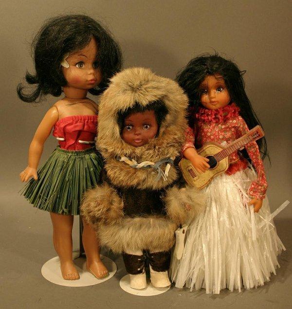 613: Lot of Ethnic Dolls; One Hula doll; One Native Ala