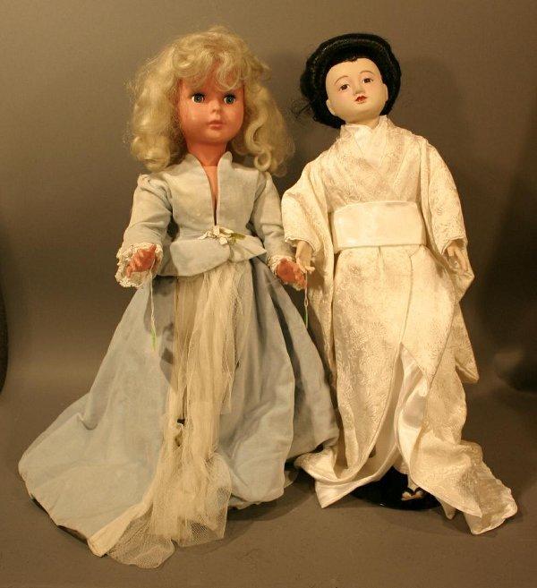 616: Two Dolls: Plastic Italian Doll, blue velvet gown