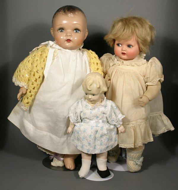 663: Lot of three 1950's dolls; including 1 German hard