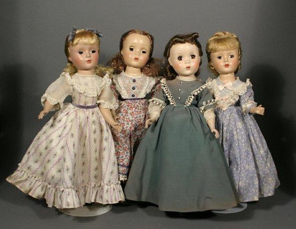672: Lot of 4 unmarked hard plastic dolls.