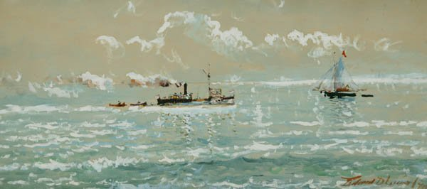 348: Maritime scene with a steamship. Watercolor.