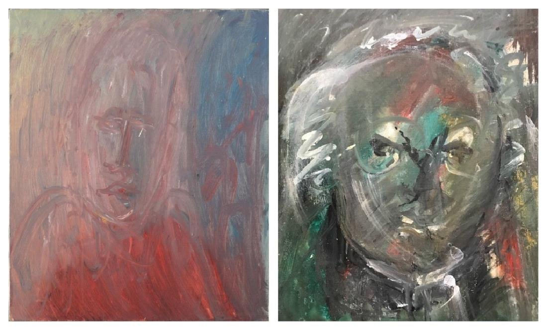 Two Abstract Portraits in red and green.