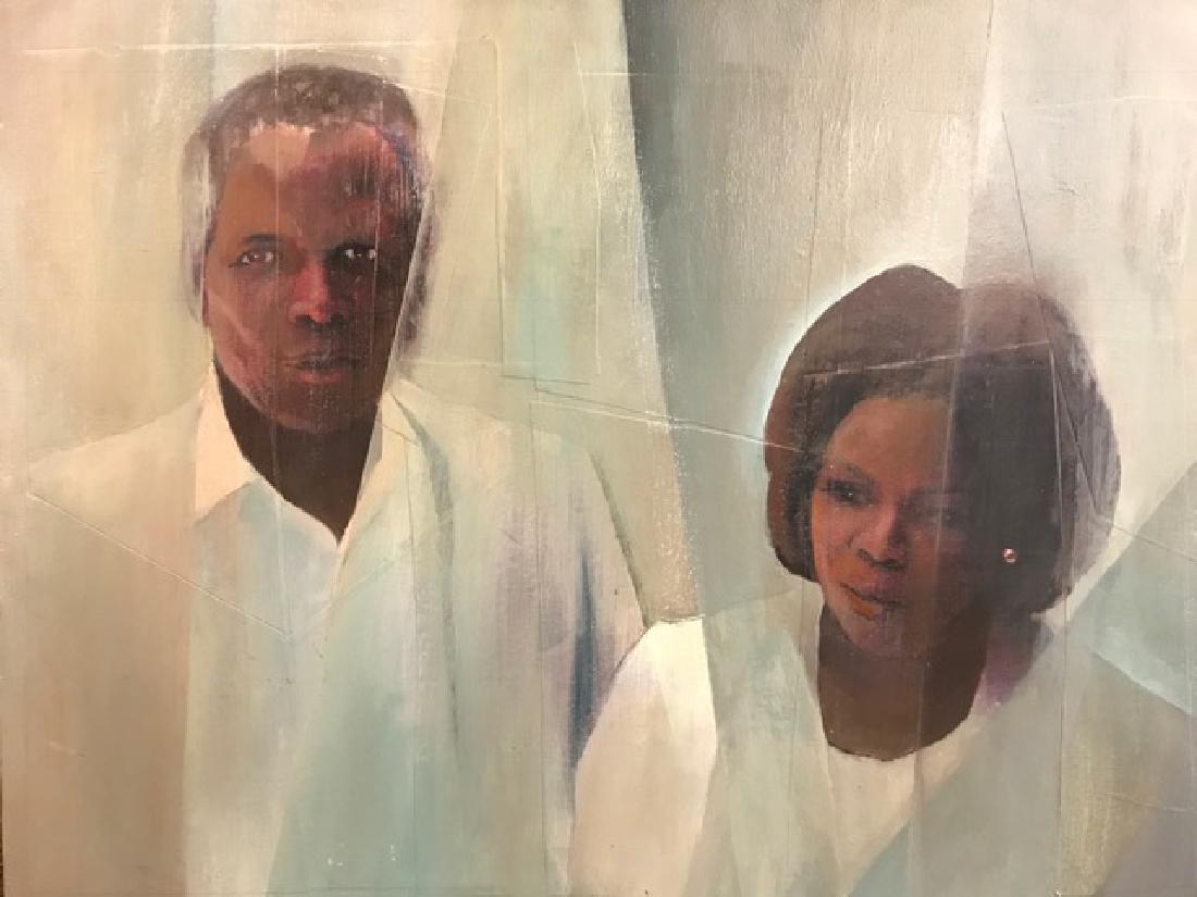 Portrait of Oprah Winfrey and Sidney Poitier.