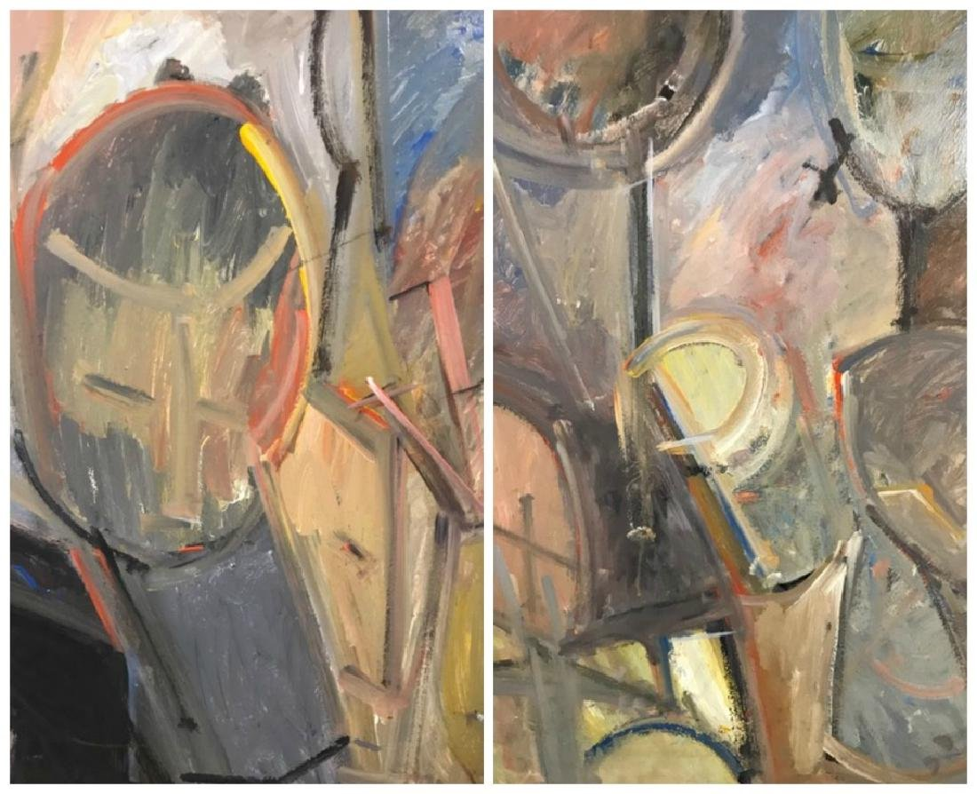 Two Abstract Figurative Paintings.