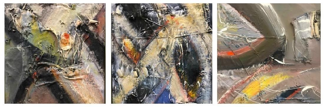 Three Abstract Mixed Media Paintings.
