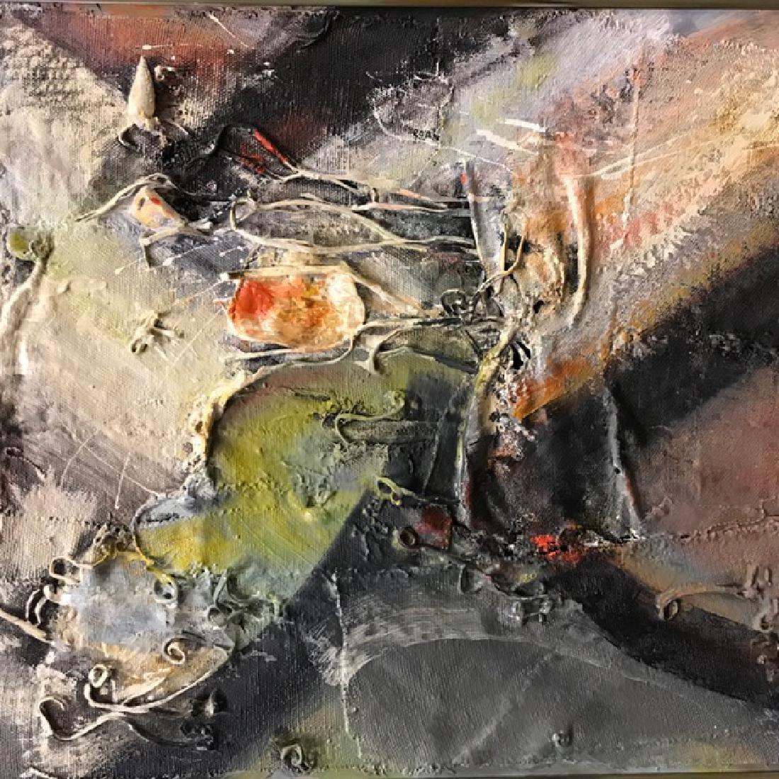 Three Abstract Mixed Media Paintings. - 2