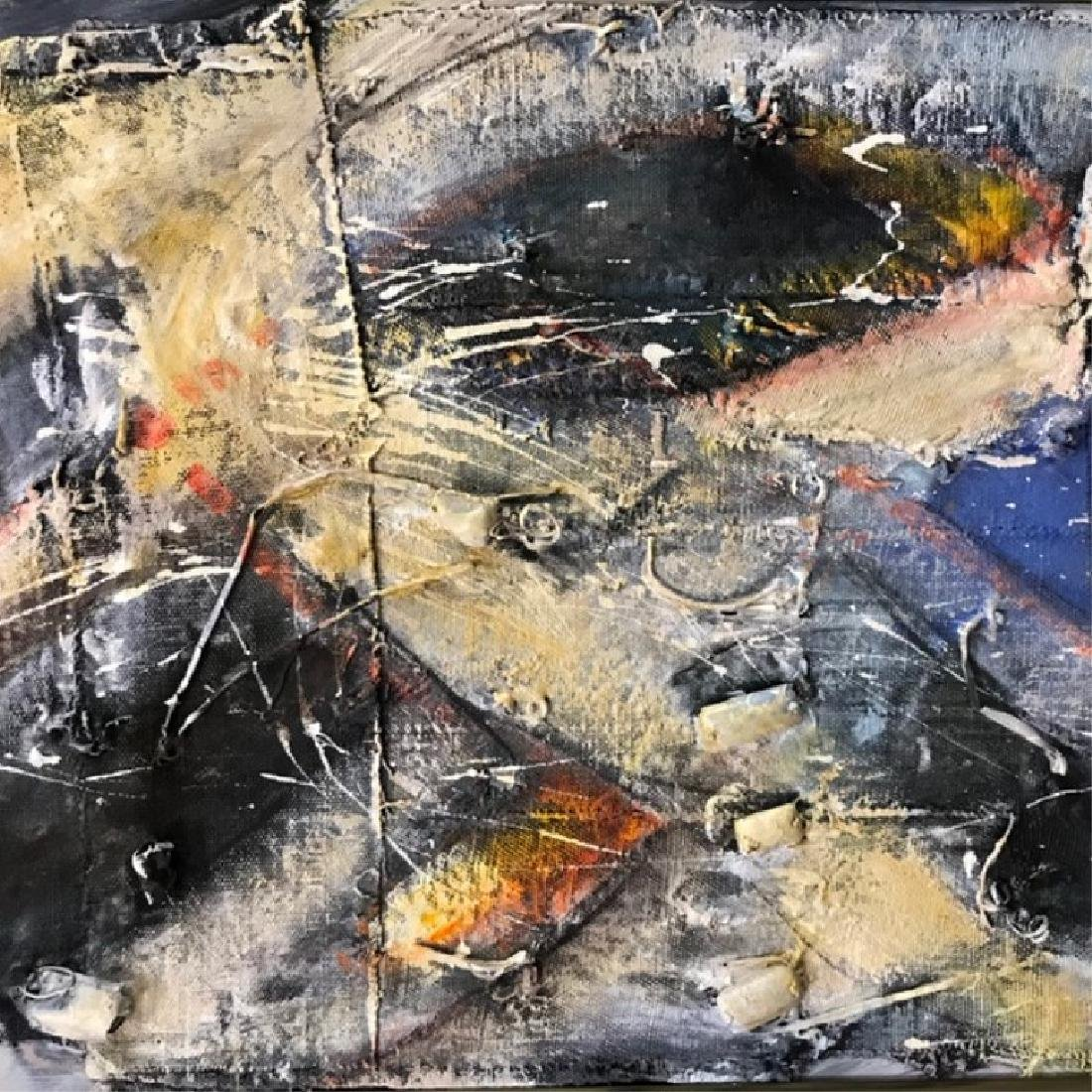 Three Abstract Mixed Media Paintings. - 5