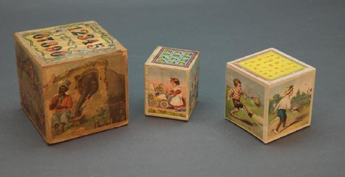3 sets of chromolithographed children's blocks.