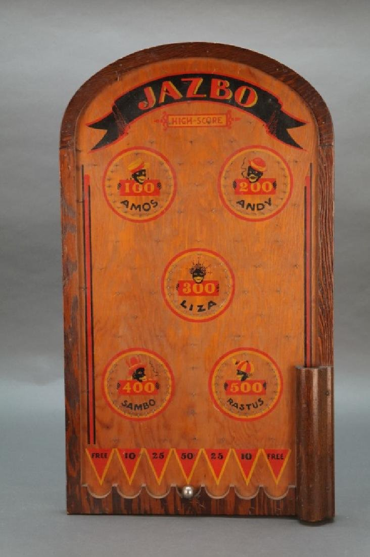 Jazbo. Pinball-type game, wooden board & marble.