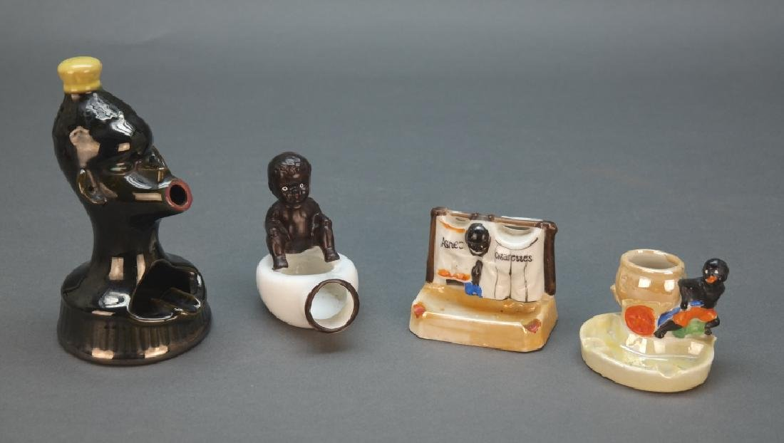 9 items: Black Am. ashtrays, watermelon figurines. - 2