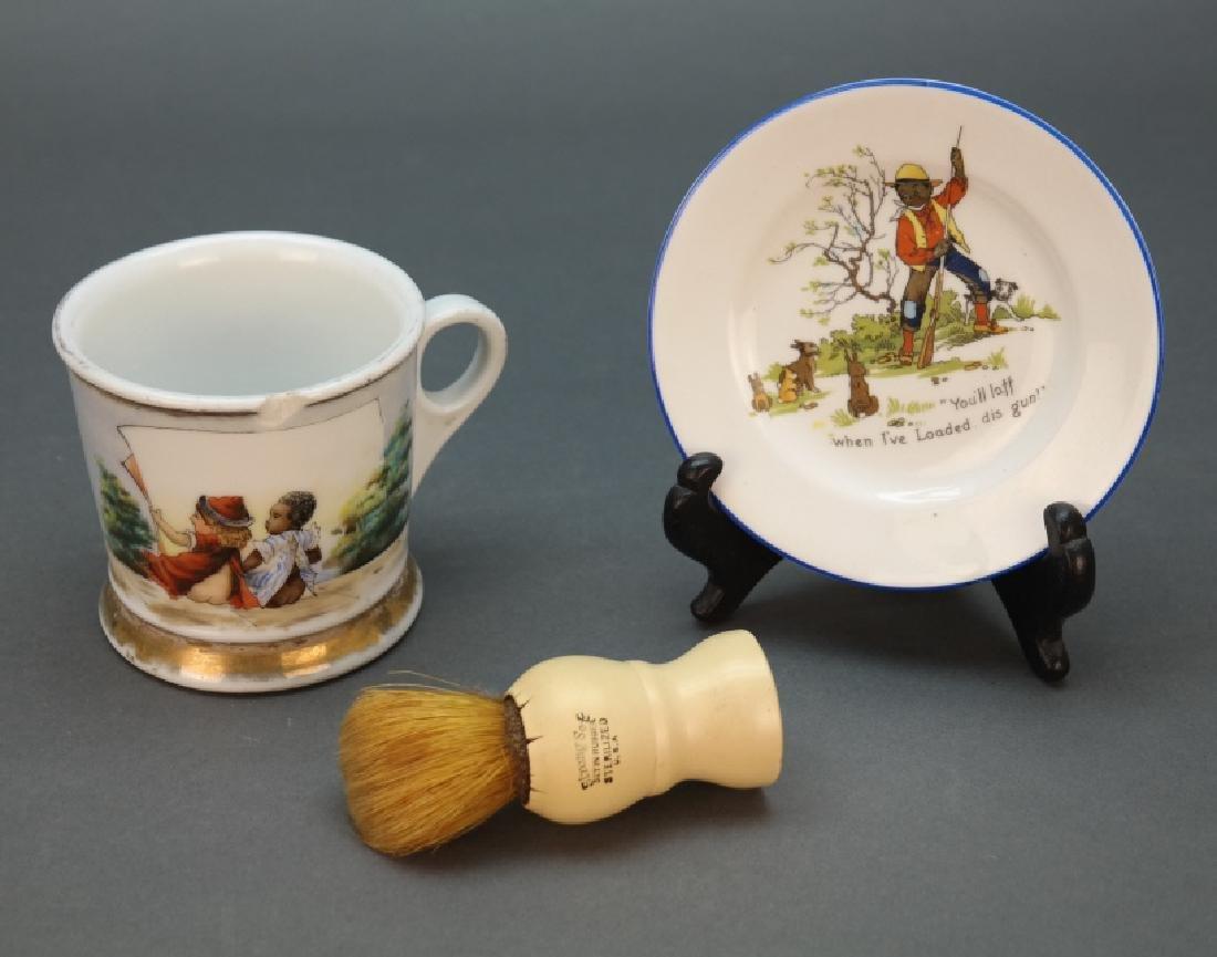 Group of 2: Black Americana saucer + shaving mug.