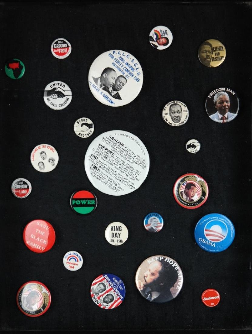 24 buttons: SNCC, MLK, Mandela, others.