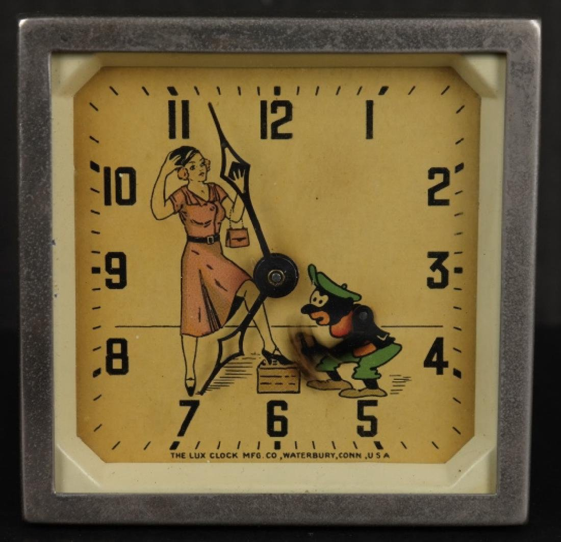 Clock with a moving shoeshine.