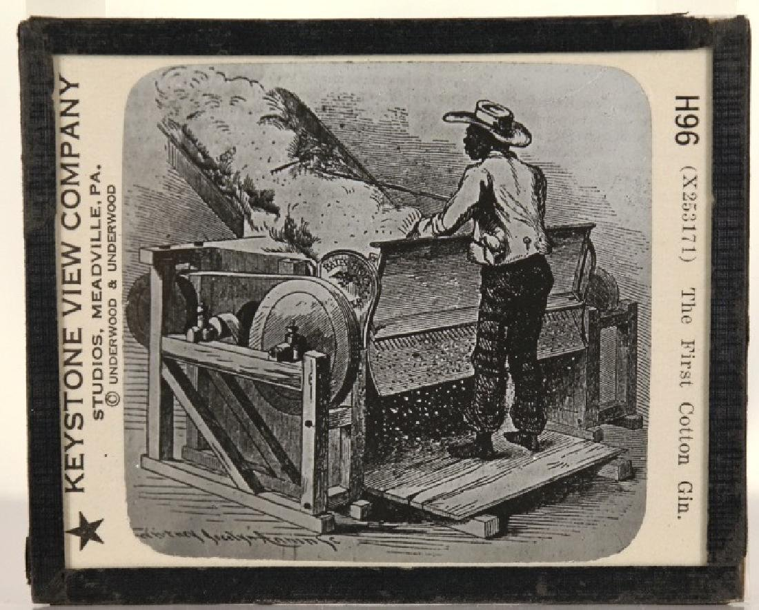 2 items: Magic lantern. Uncle Tom (9), cotton gin.