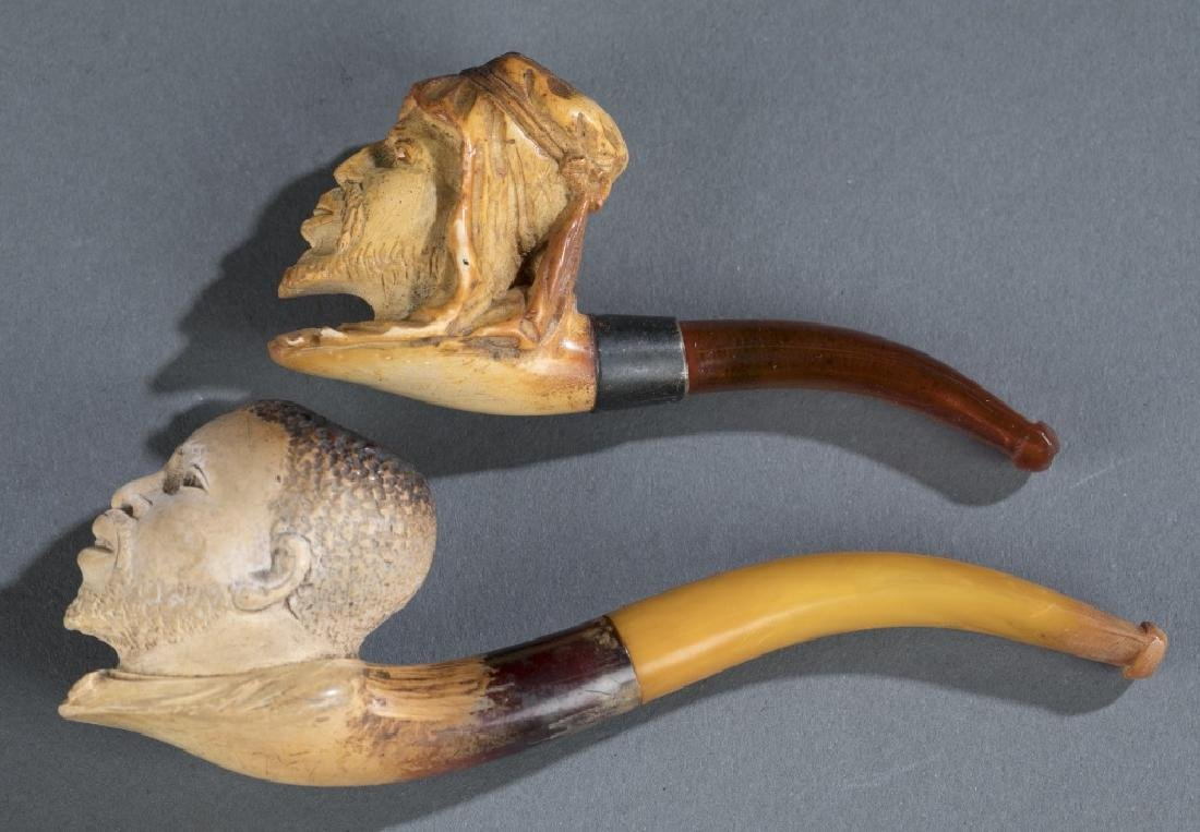 2 Meerschaum pipes: Black American + North African