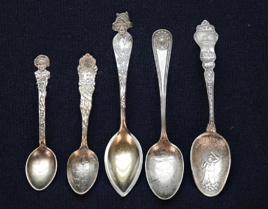 5 sterling spoons (4 w/ Black Americana design).