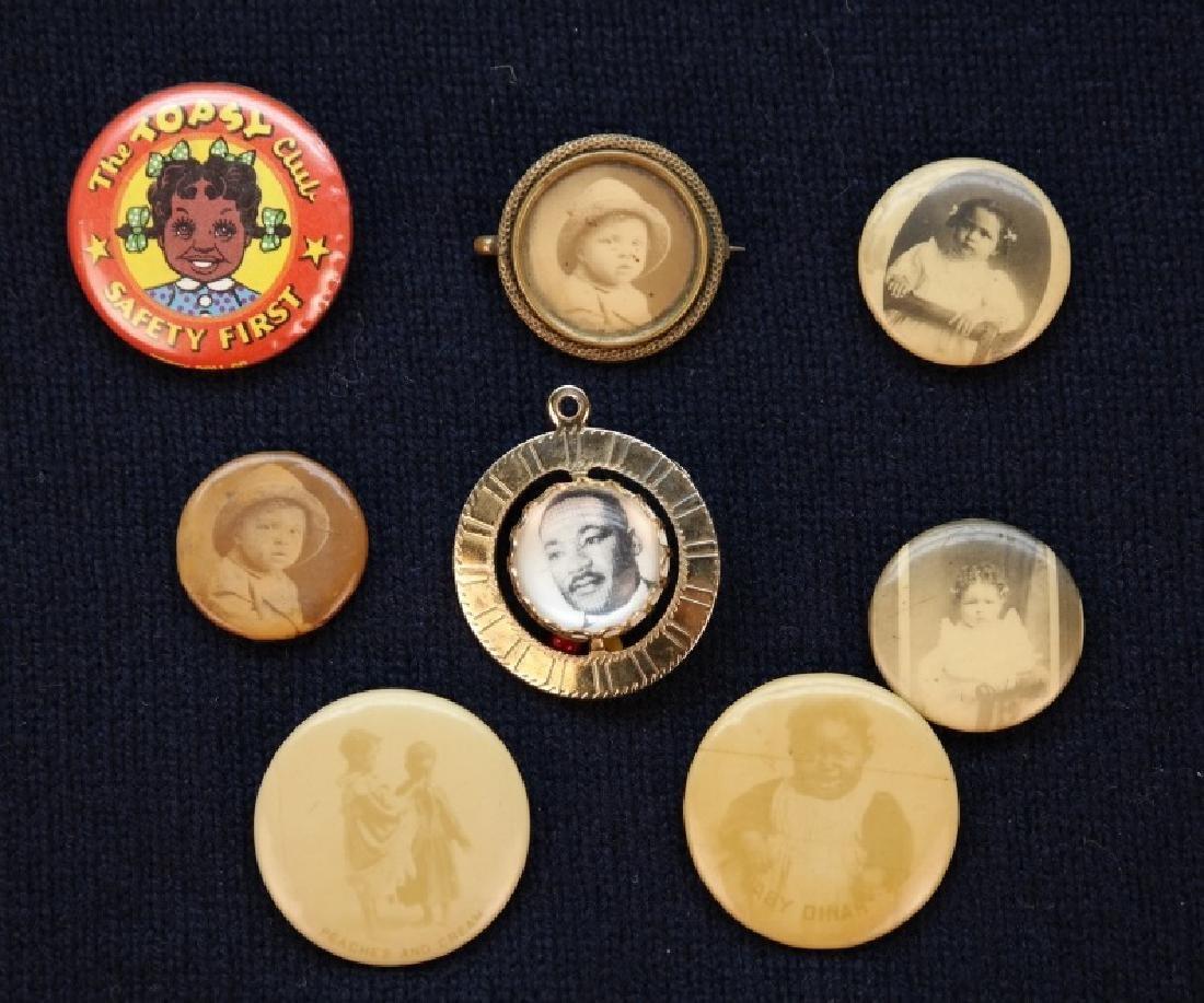 8 Black Americana lapel pins incl Cameo Pepsin Gum