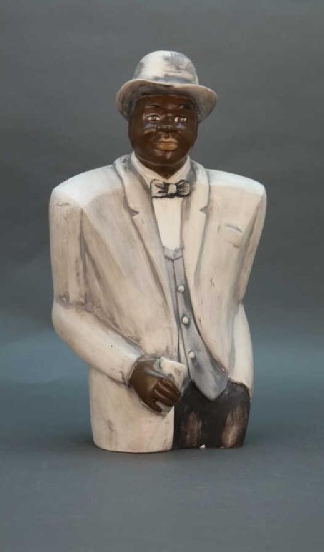 Black Americana statuette: Man in suit bowtie, hat