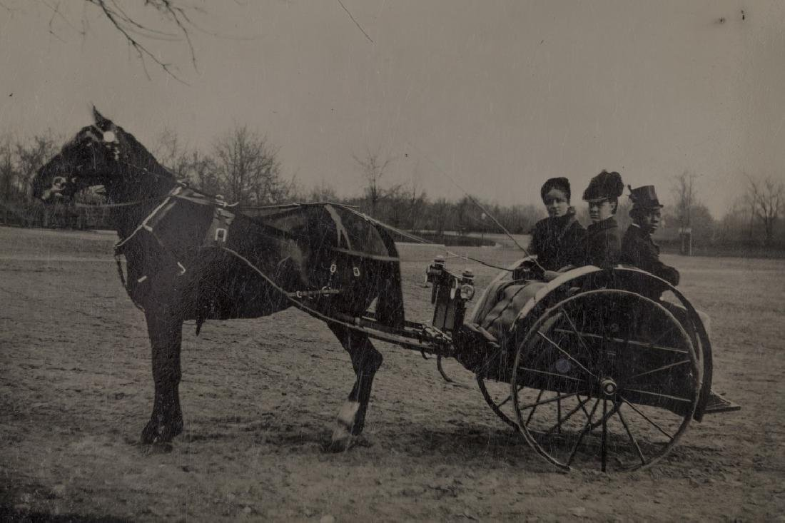 Tintype of horse, cart & passengers. - 2