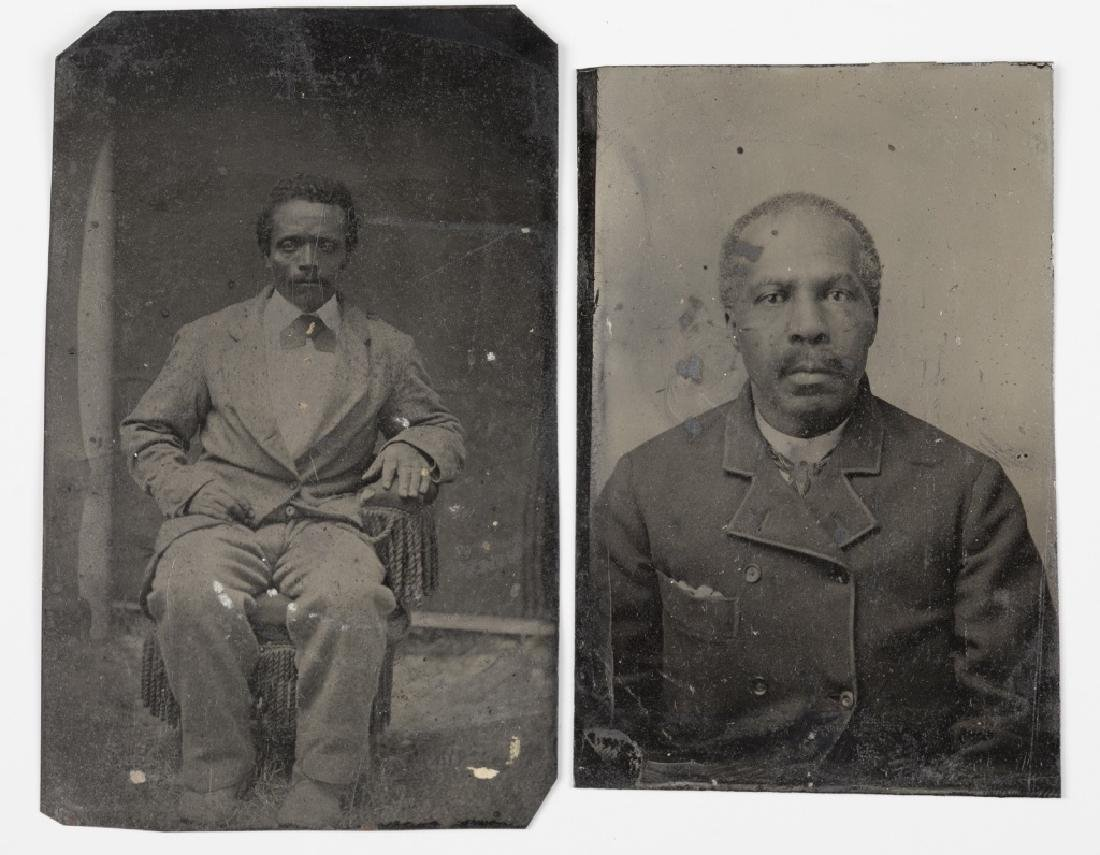 2 Tintypes of black men, 1 seated, 1 chest-length.