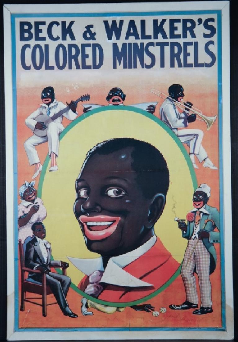 6 posters/prints: Minstrels, tobacco posters...