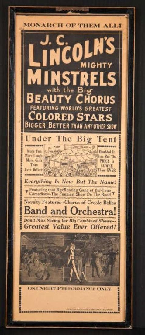 2 posters: Minstrel shows, incl J. C. Lincoln's.