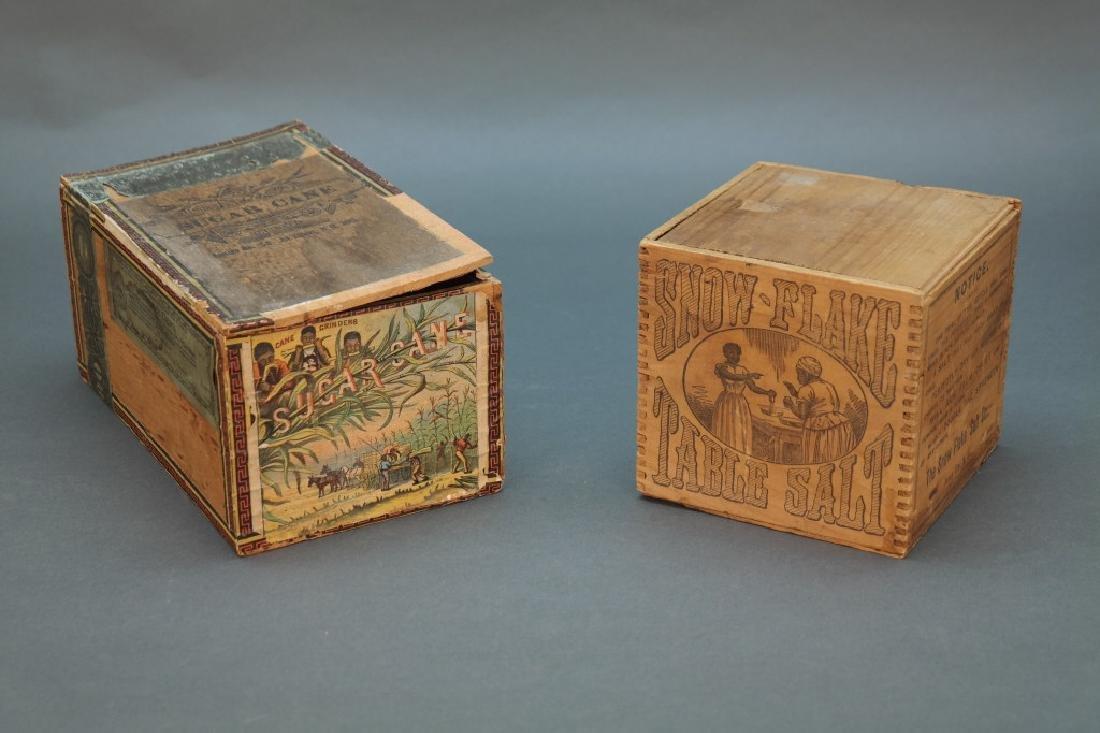 2 boxes: Sugar Cane Tobacco, Snow Flake Table Salt