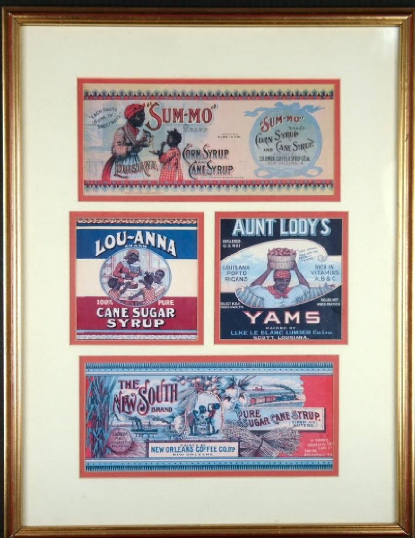 Group of 4 advertisements/product labels, framed