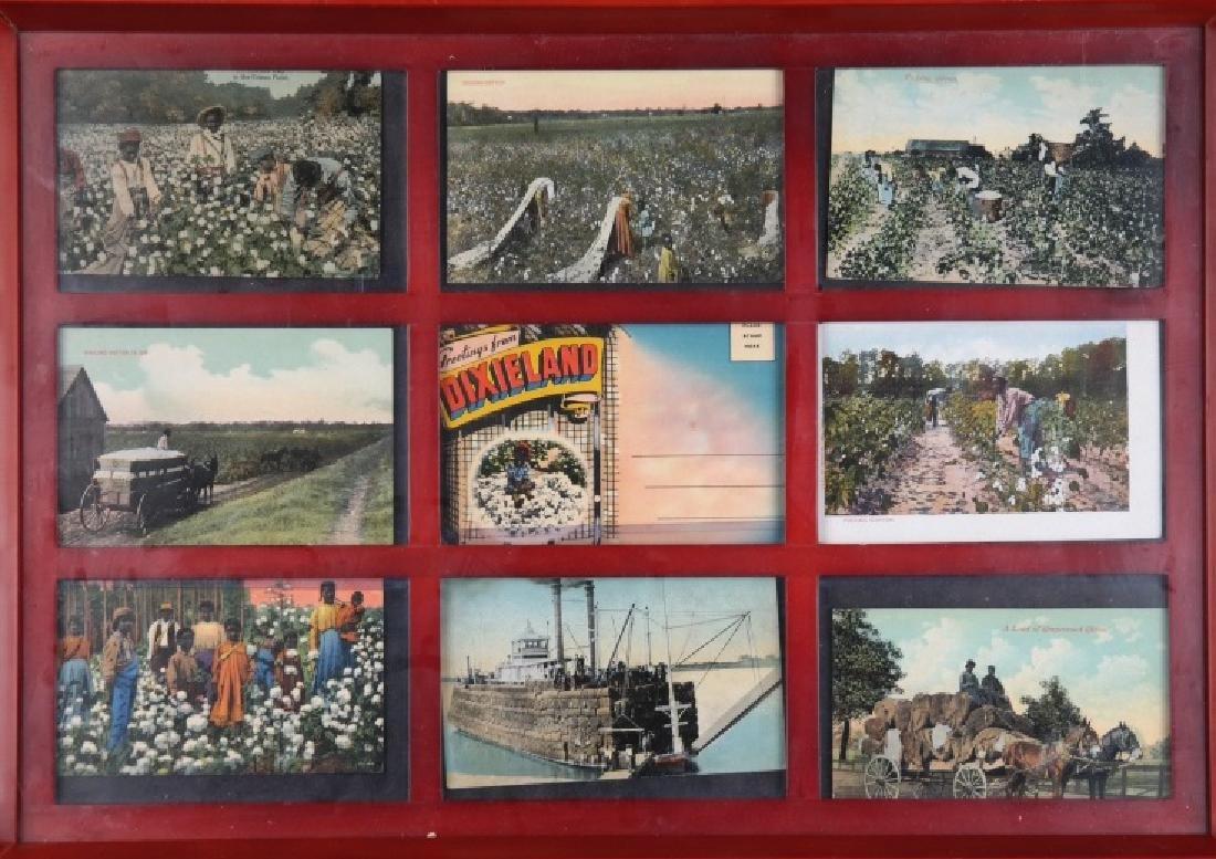 4 framed sets of Black Americana postcards